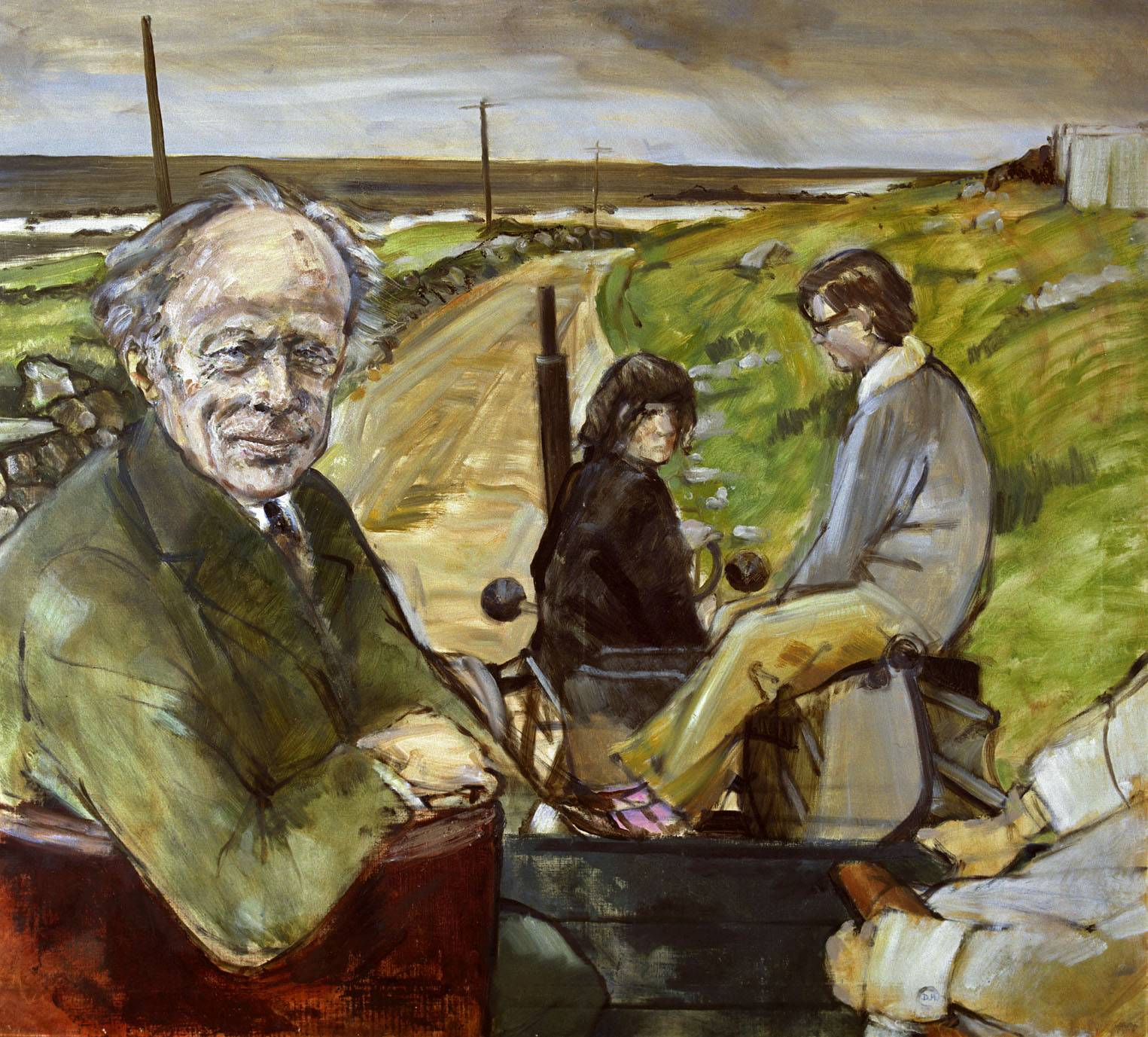 Erskine Childers, President of Ireland, by Derek Hill, 1974. The National Museum. Oil on canvas. Erskine and Rita Childers stayed at St Columb's from where they visited Tory Island, touring it on the only mechanised form of trnasport: a tractor. Hill finished this picture, showing him visiting the local people he loved, after the president's death. Derek Hill Foundation.