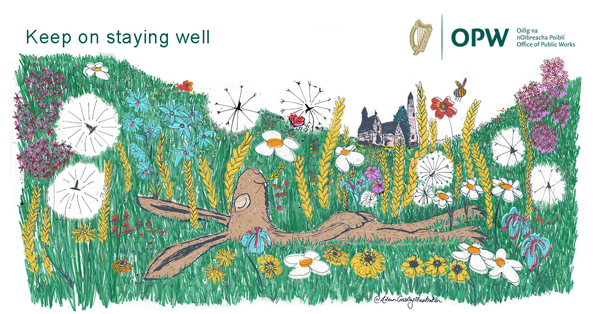 """OPW """"Keep on staying well"""" illustration with rabbit snoozing in meadow in front of monument"""