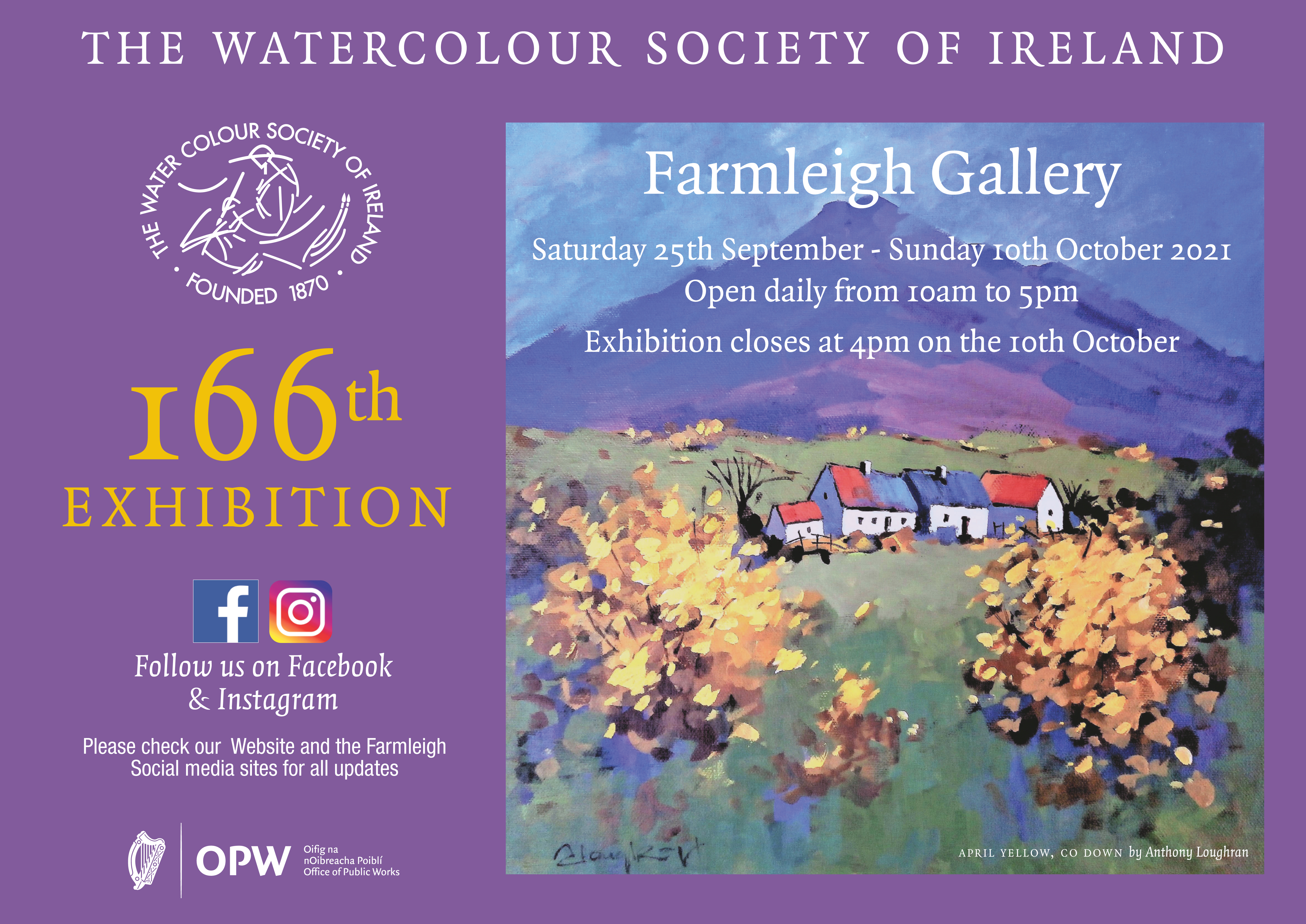 Watercolour Society Invite with image by Anthony Loughran